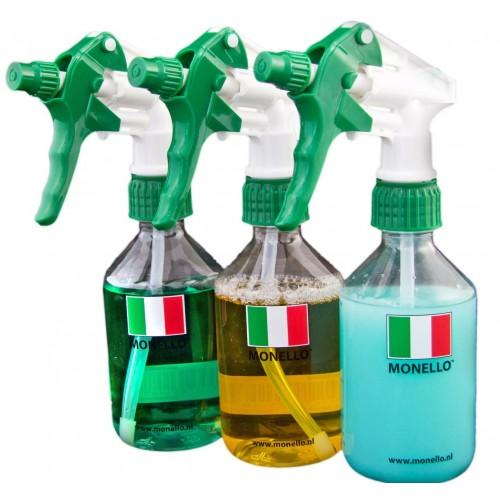 Monello - Lege fles met verdeling en sprayer 250/500ml combi 6-pack